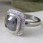 Grey Rosecut Diamond Halo by Alexis Dove