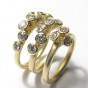 18ct yellow gold rings set with brilliant cut white diamonds