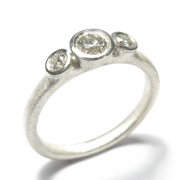 9ct white gold band set with brilliant cut white diamonds