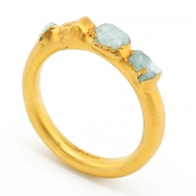 Gold Raw Aquamarine Crystal Ring