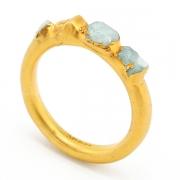Gold Raw Aquamarine Crystal Ring