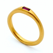 Gold Baguette Ruby Ring