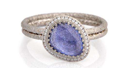 Blue sapphire rose cut ring by James Newman
