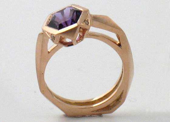 Amethyst Rose Gold Ring Side by Sophie Breitmeyer