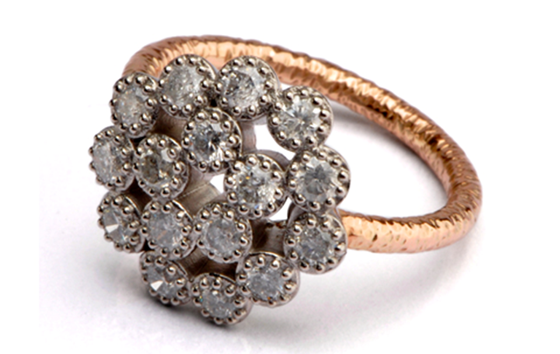 RED GOLD PALLADIUM CLUSTER GREY DIAMOND BY JAMES NEWMAN