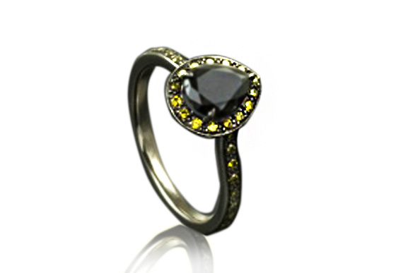 Black diamond ring with yellow diamond sides by Anton Kata