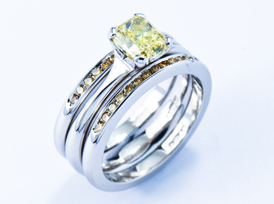 Natural canary yellow diamond ring by Jon Dibben