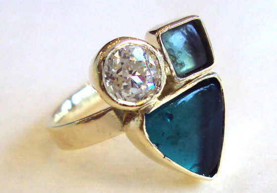 Blue sea glass and diamond ring by Nicola Hurst