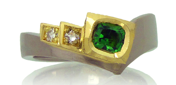 Tsavorite and Diamond White and Yellow Gold Ring by Amanda li Hope