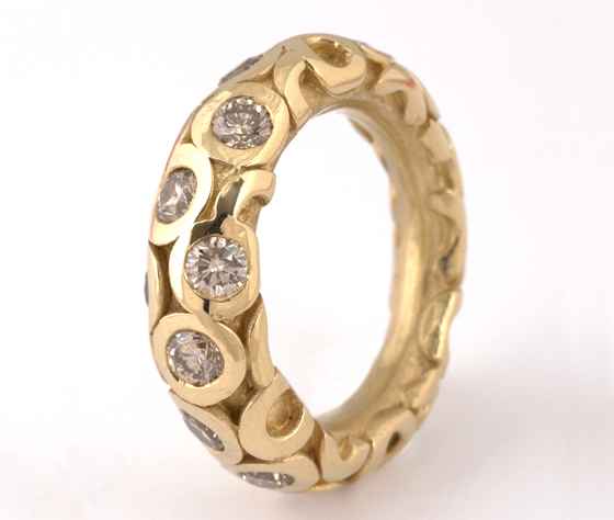squid ring, 18ct gold, with brown diamonds by Tina Engell