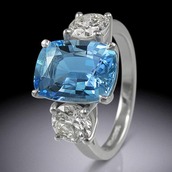 Cushion cut aquamarine and diamond ring by Simon Wright