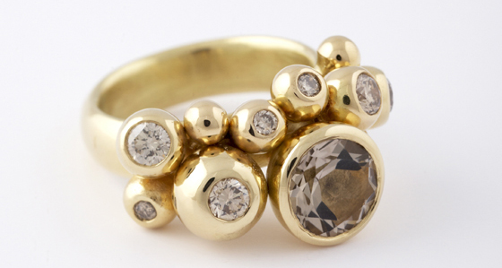 Ball ring, 18ct gold with brown diamonds by Tina Engell
