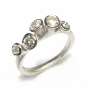 9ct white gold band set with customers own old cut white diamonds