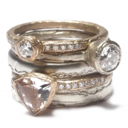 Rose and white gold diamond stack