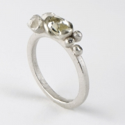 Natural Diamond Ring with Flowers