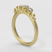 Three Stone Diamond Scroll Ring